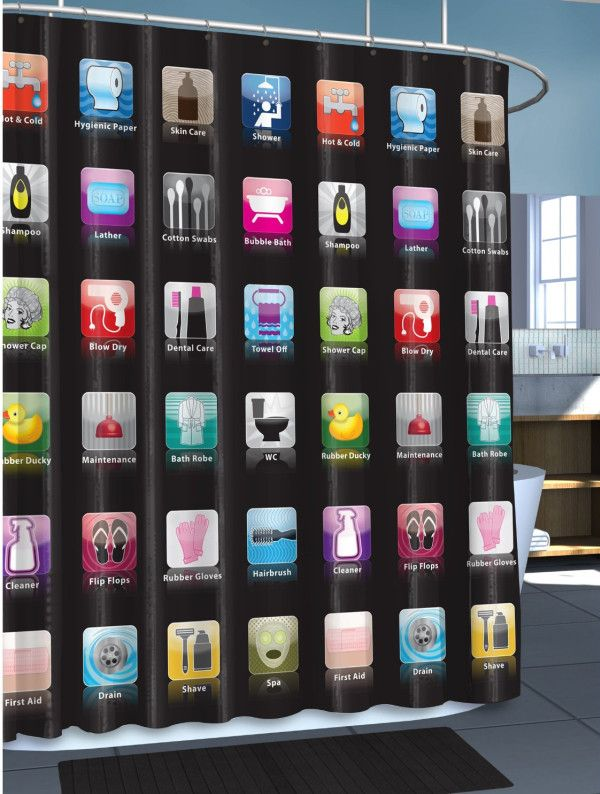 This is a great shower curtain for all iPhone fans! It can be a gift or just a home improvement for your bathroom.