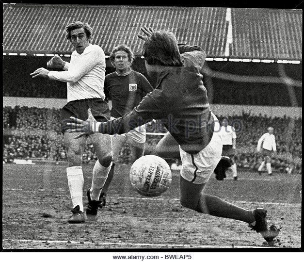 13th February 1971. Tottenham Hotspur centre forward Martin Chivers scores against Nottingham Forest in the FA Cup 5th Round tie at White Hart Lane.
