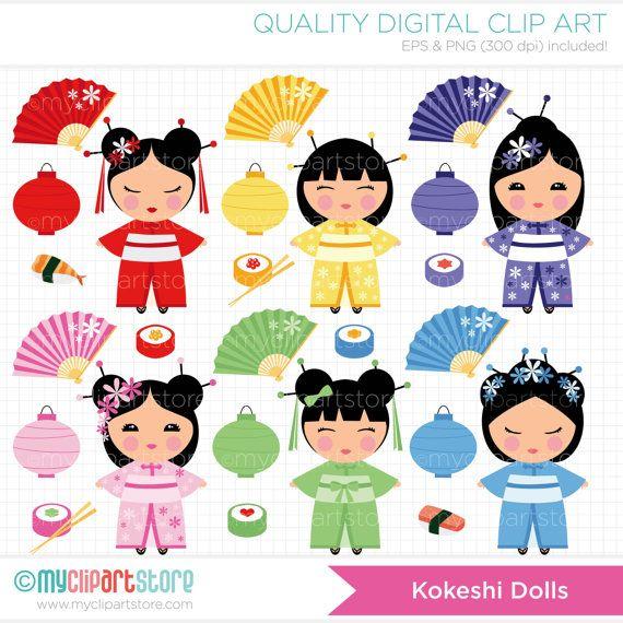 Kokeshi Doll Art   Kokeshi Dolls Clip Art / Digital Clipart - Instant Download