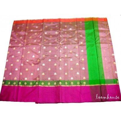 Loomhouse Pure Pattu Silk Chanderi Saree (GP1209)