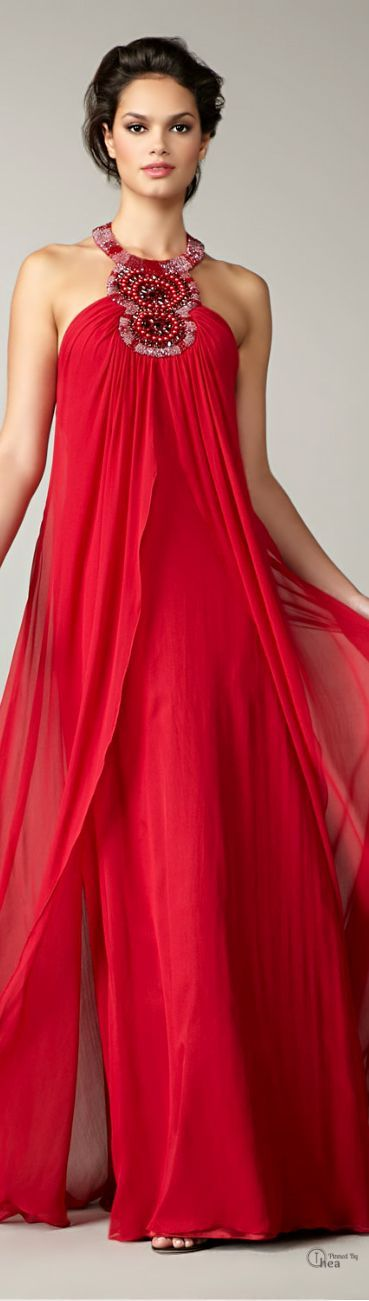 Aidan Mattox ● Red Beaded halter Gown v - Get $100 worth of Beauty Samples!