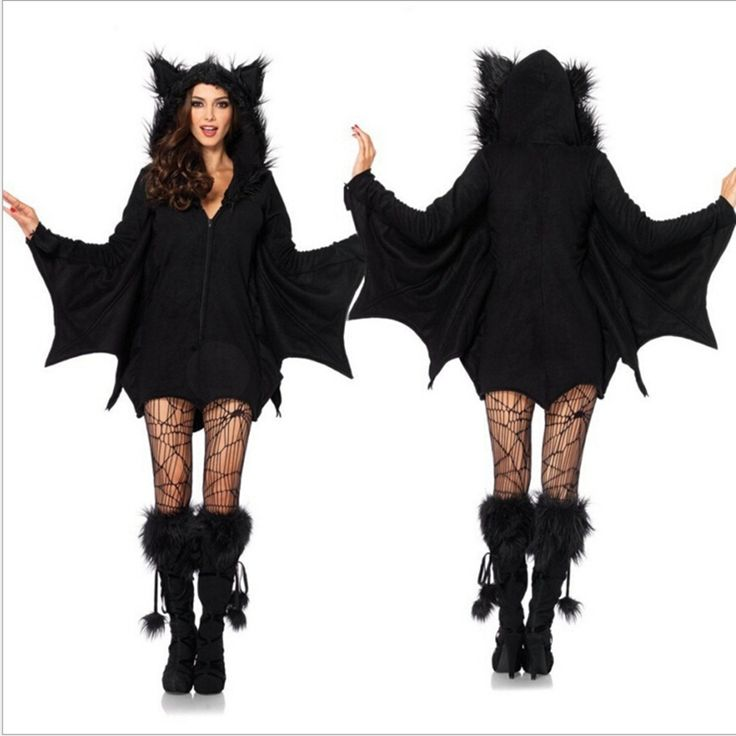 Halloween Sexy Vampire Costume Women Black Evil Bat Costume Clothes Halloween Masquerade Plays Vampire Costumes