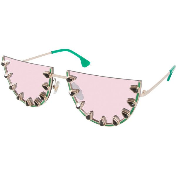 Alice + Olivia Palm Canyon Flat-Top Watermelon Sunglasses (1,250 ILS) ❤ liked on Polyvore featuring accessories, eyewear, sunglasses, green, mirror lens sunglasses, metal frame glasses, scratch resistant sunglasses, mirrored lens sunglasses and swarovski crystal sunglasses