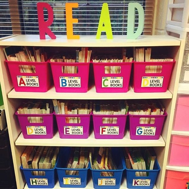 Bright Neon Leveled Library Labels for Book Bins   Let's Get
