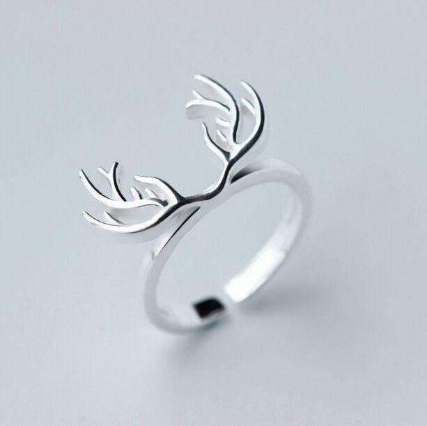 Оригинал 925 рога оленя открытое кольцо для женщин мода девушки рождественские подарки стерлингового серебра   серебристо ювелирныекупить в магазине Yiwu Anne Jewelry FactoryнаAliExpress