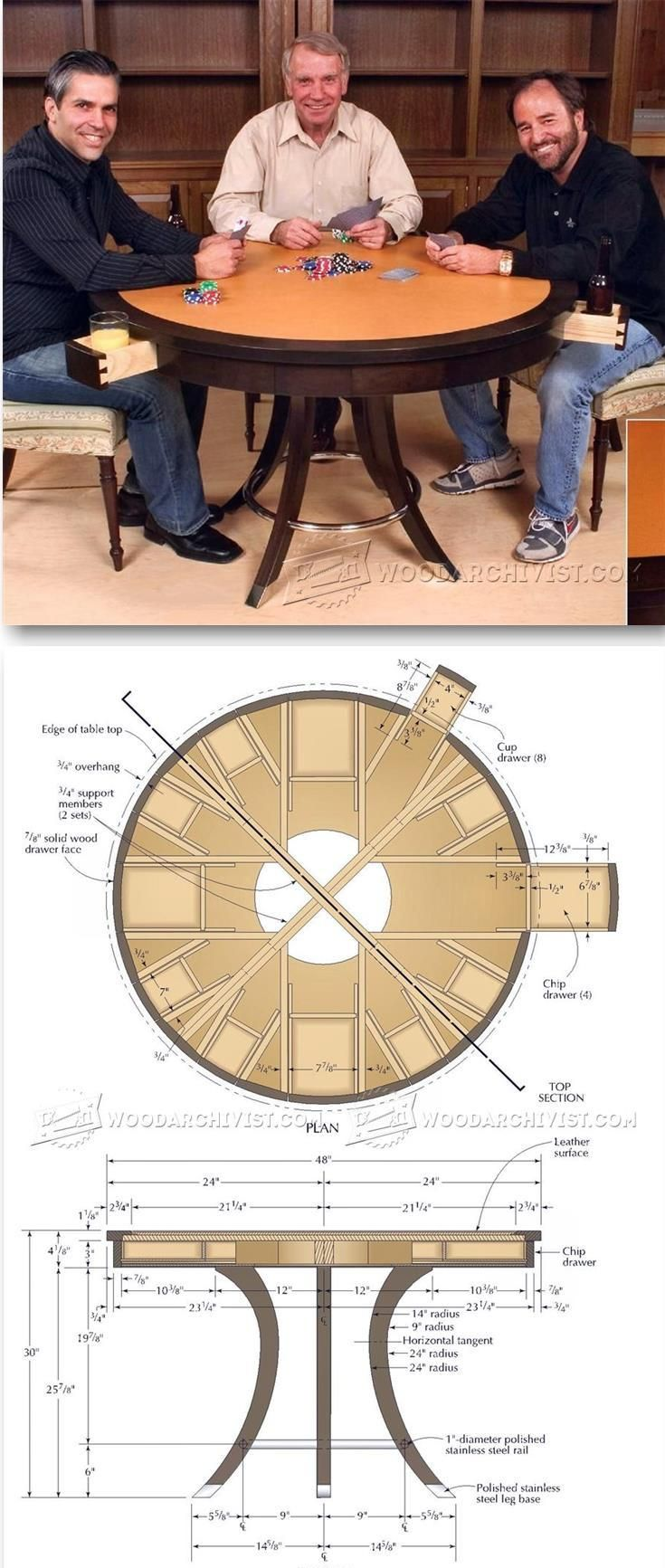 Poker Table Plans - Furniture Plans and Projects | WoodArchivist.com