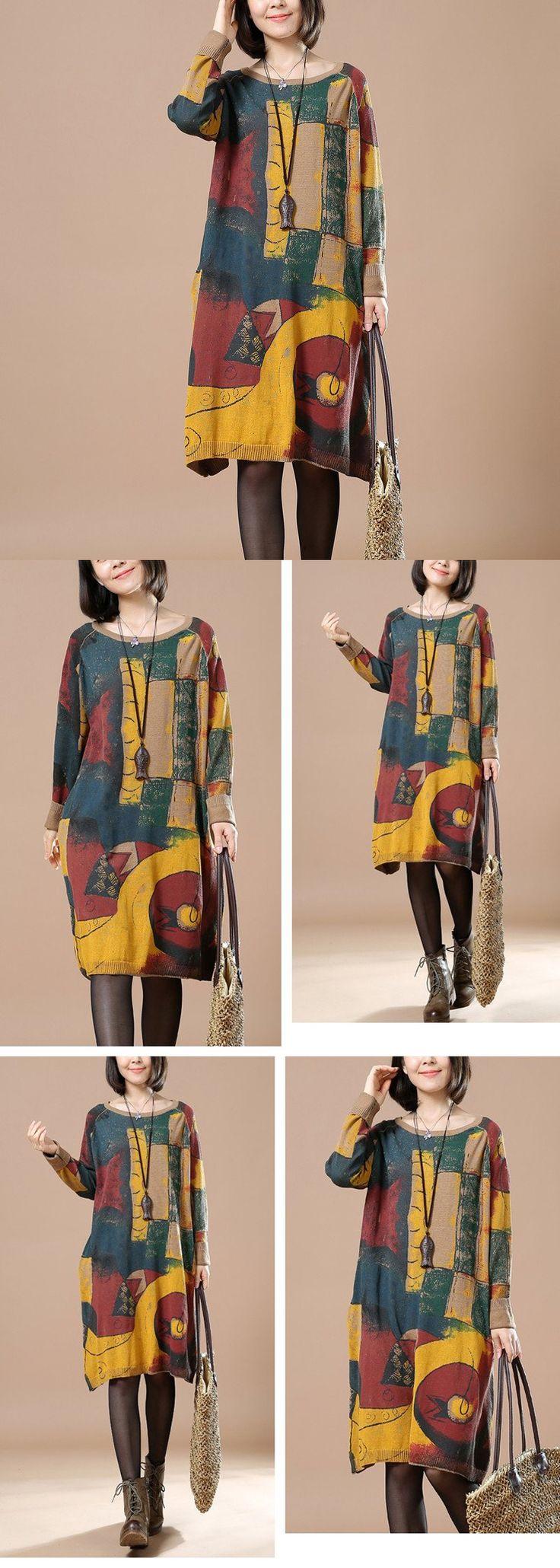 Women abstract pattern printed  long sleeve sweater dress.sooo vintage look.