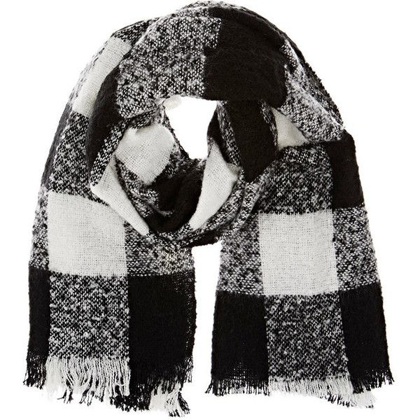 Barneys New York Women's Checked Bouclé Scarf (3.670 RUB) ❤ liked on Polyvore featuring accessories, scarves, black, barneys new york and checkered scarves