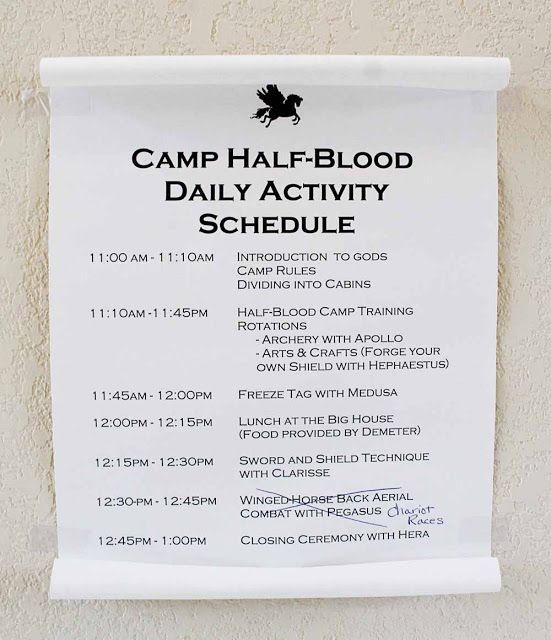 Scraps of Shirlee: Percy Jackson Birthday Party Camp Half Blood Schedule