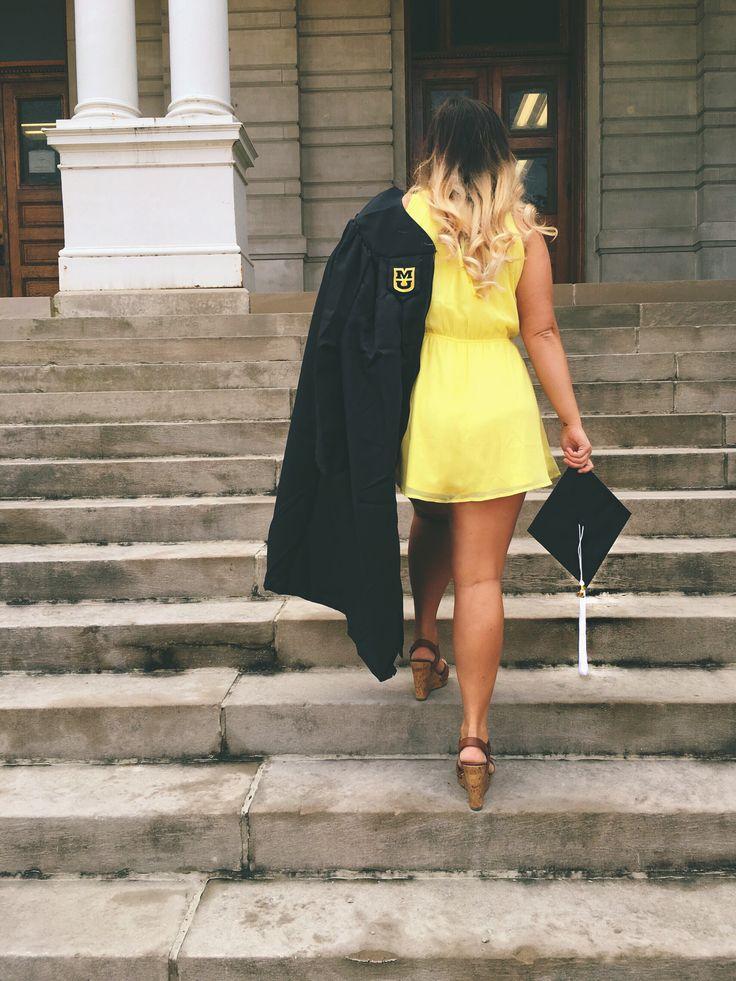 College graduation senior pictures cap and gown ombré hair