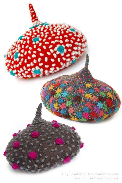 Unique felt hand embroidered beret for Christmas elves and anyone with a playful spirit from Dadaya Tiny Toadstool    Oh.  My...  Is it possible to be in love with a hat?