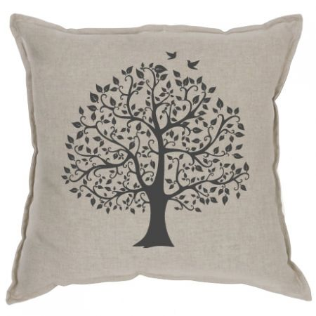 Cushion - Tree Black 100% Linen - hardtofind.