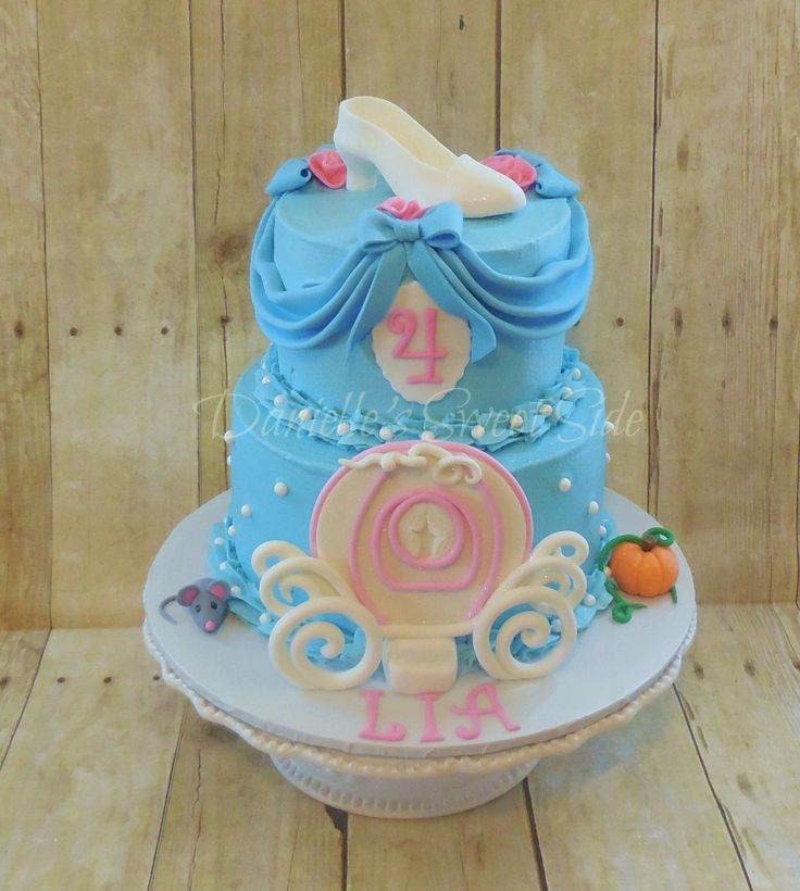 Cinderella inspired Birthday Cake ~ Buttercream icing with Fondant Glass slipper topper and Carriage