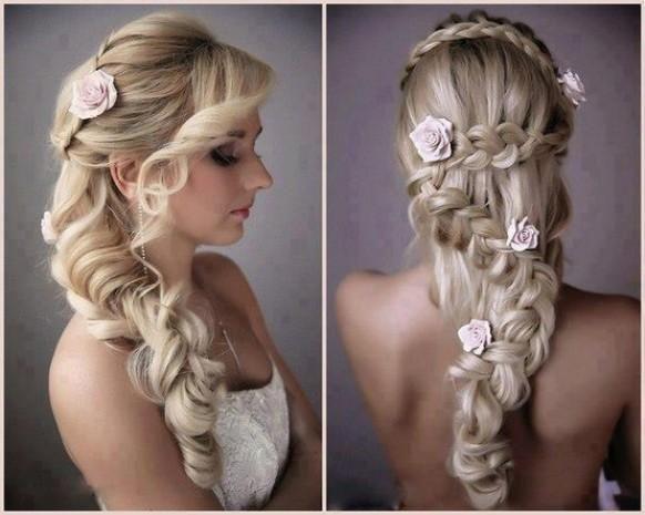 Weddbook ♥ Einzigartige Blume Zopf Frisuren für die Hochzeit. Braid Hochzeitsfrisur mit rosa Rosen. Wunderschöne Hochzeit Frisuren für langes Haar.  Spring  Sommer  blonde  blasse  pink  rose  flechten  bohemian  Strand