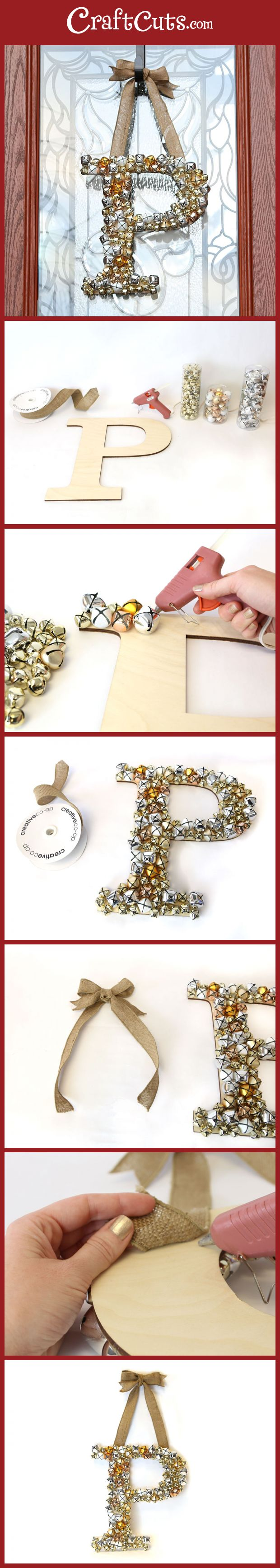 How+to+Create+a+Jingle+Bell+Monogram+Wreath+|+CraftCuts.com