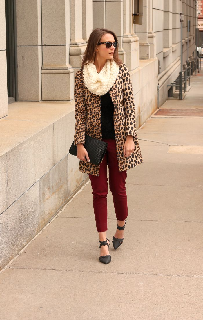 Leopard + burgundy