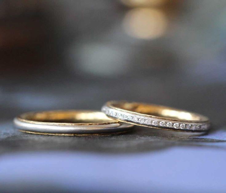 コンビカラーのエタニティリング:結婚指輪(オーダーメイド/手作り)  [marriage,wedding,bridal,ring,マリッジリング,コンビカラー,ダイヤモンド,diamond,ith]