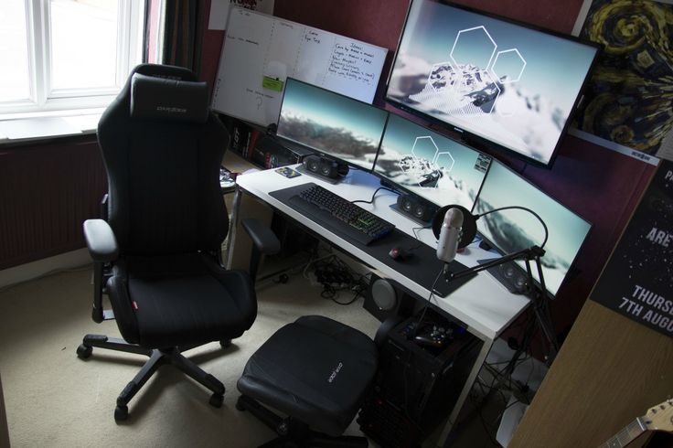 Battle station Gaming computer desk Setup white Desk IKEA with Multiple display Monitor and Black Chair