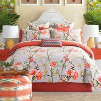 100% américa pastorale 4 unids reina rey juego de cama flor de algodón marca ropa de cama de princesa cubierta de cama edredón funda de almohada