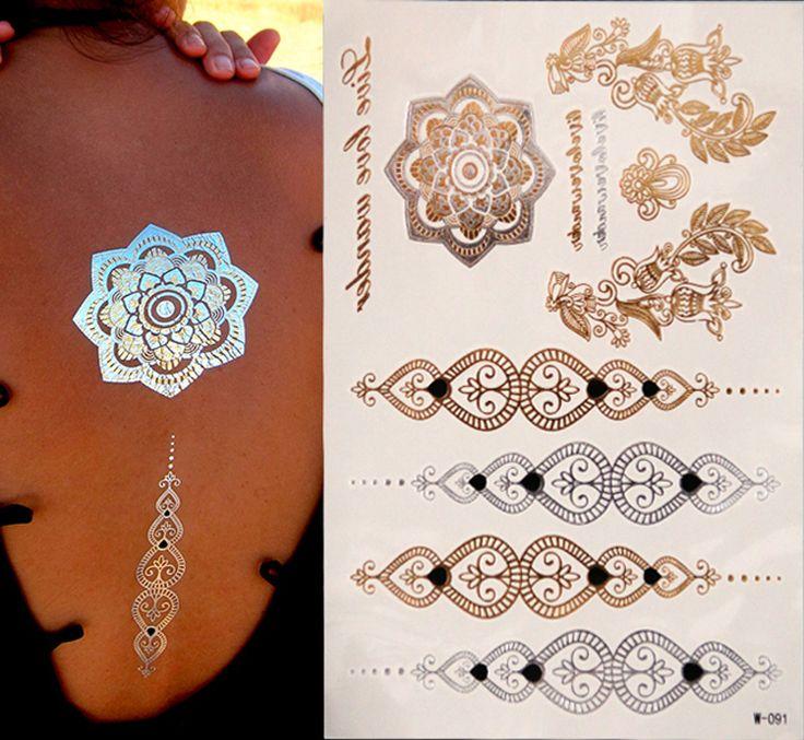 Золото татуировки продукты секса браслеты татуировки металлический временные татуировки женщин флэш-металл поддельные золото Серебро татуировки