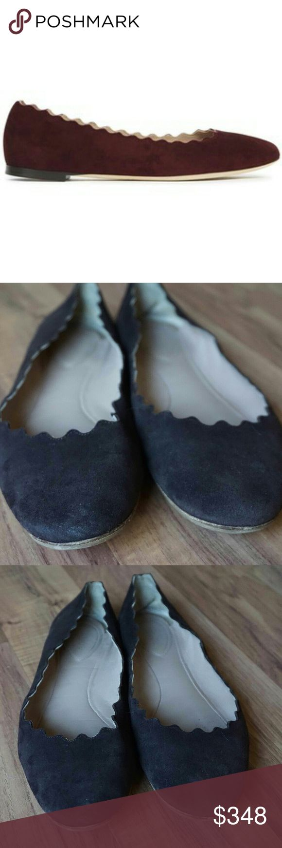 Chloe Brown Suede Lauren Scalloped Ballet flats A scalloped top line lends feminine elegance to a round toe leather flat that looks pretty peeking out from your favorite denim. These are classic Chloe flats, in great used shape. Some wear on sole but ready to be enjoyed! Chloe Shoes Flats & Loafers