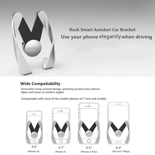 9.53$  Watch more here - http://ai2tj.worlditems.win/all/product.php?id=PA3624GY - ROCK Autobot Car Vent Mobile Phone Holder Car Air Outlet Adjustable Phone Bracket PC Plating Stand for iPhone 6S 6 Plus 5SE Samsung S7 Edge S6 Smartphones