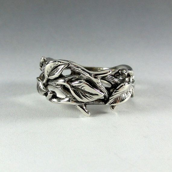 Sterling Silver Leaf & Twig Band for Him or Her.    I wanted to create a beautiful flowing Twig and Leaf Band, so I sculpted the stems and