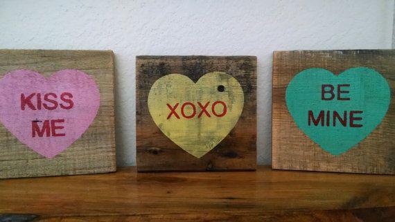 Rustic Valentines Conversation Hearts Pallet Board Signs - $6.99. https://www.bellechic.com/deals/706e7c82f4c5/rustic-valentines-conversation-hearts-pallet-board-signs