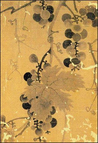 신사임당 포도도 Grapes by Shin Saimdang, 16c korean lady literati artist, poet
