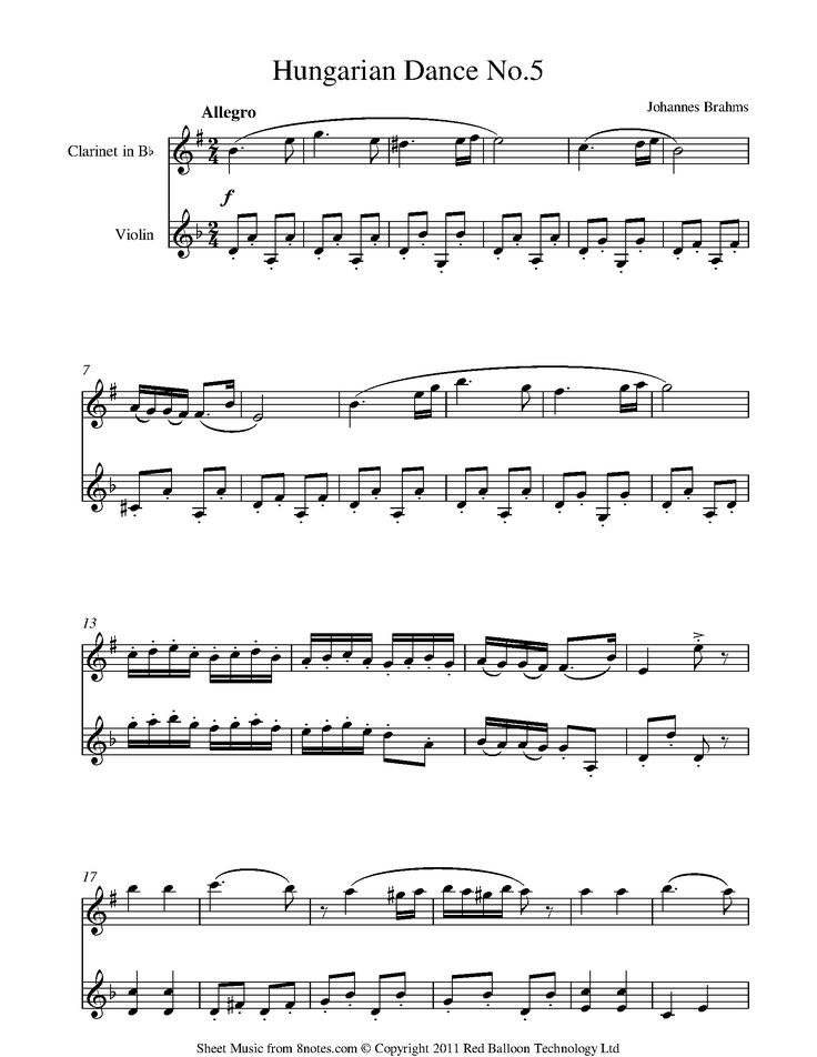 Brahms - Hungarian Dance no.5 sheet music for Clarinet-Violin Duet - 8notes