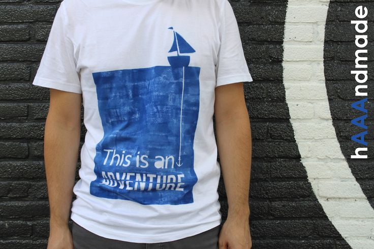 "#Handmade ""This is an #adventure #tshirt. Available in blue, orange, red and black. #Lumi #Inkodye #wesanderson #sea #anchor #sailboat #blue #stevezissou"