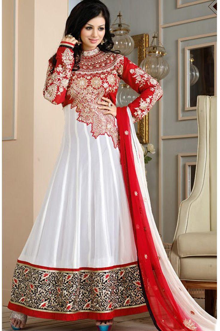 Ayesha Takia White and Red Anarkali Suit | Khantil.comKhantil.com