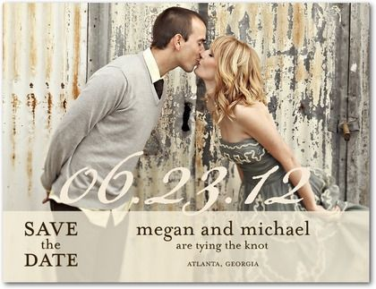 Sheer Script - Clearance Save the Date Postcards in Almond or ...