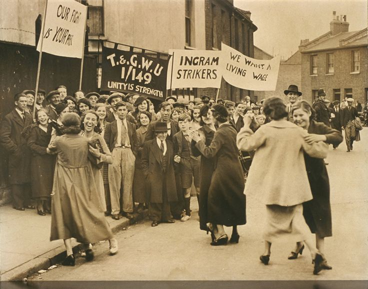 Girls dance after strike at East London rubber works, 8 September 1936, Daily Herald Archive, National Media Museum Collection / SSPL