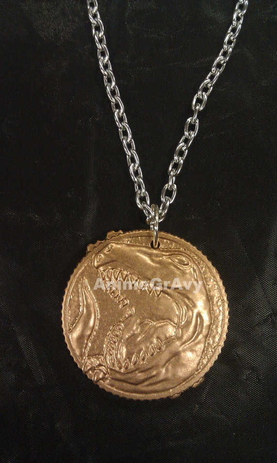 power rangers red ranger trex coin necklace by animegravy