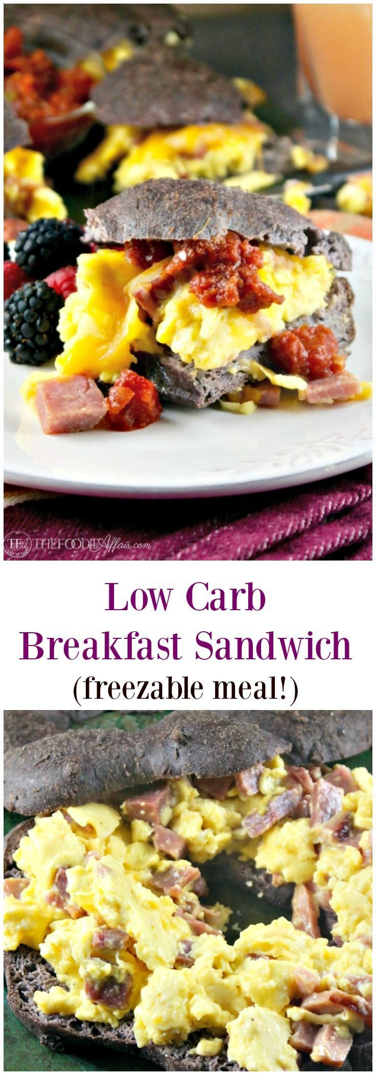 Low Carb Breakfast Sandwich filled with fluffy eggs folded with ham and melted cheese! Serve a crowd or wrap up for a grab and go meal!