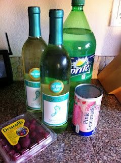 -   2 bottles Moscato,   1 pink lemonade concentrate,   3 C of Sprite,   Fresh raspberries. (or strawberries :) awesome pin