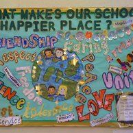 School a happier place Display, classroom display, class display, Ourselves, school a happier place, friend, Early Years (EYFS), KS1& KS2 Primary Resources