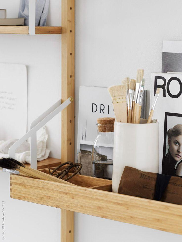 SVALNÄS hyllplan med förvaringsfack, SVALNÄS hyllplan, SVALNÄS väggskena från, IKEA 365 + karaff med kork.