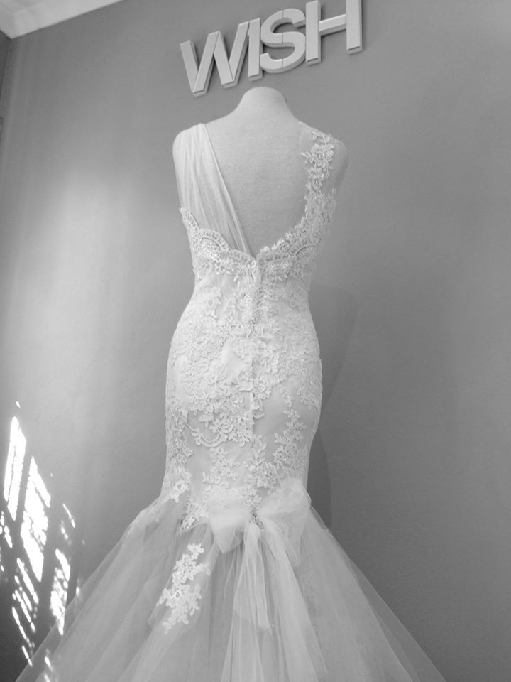 A sample dress on the mannequin in the studio.