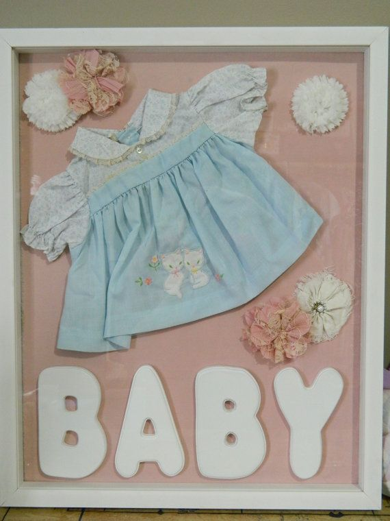 Vintage Blue and Pink Childs Dress Shadow Box Display by VintageBaublesnBits, $80.00