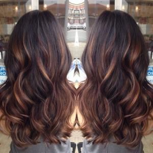 golden caramel balayage'd lights on her dark brown hair  ♥ my summer hair by tanya