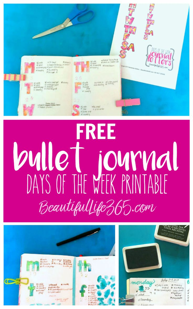 Free bullet journal printable with watercolor days of the week. -- from BeautifulLife365.com