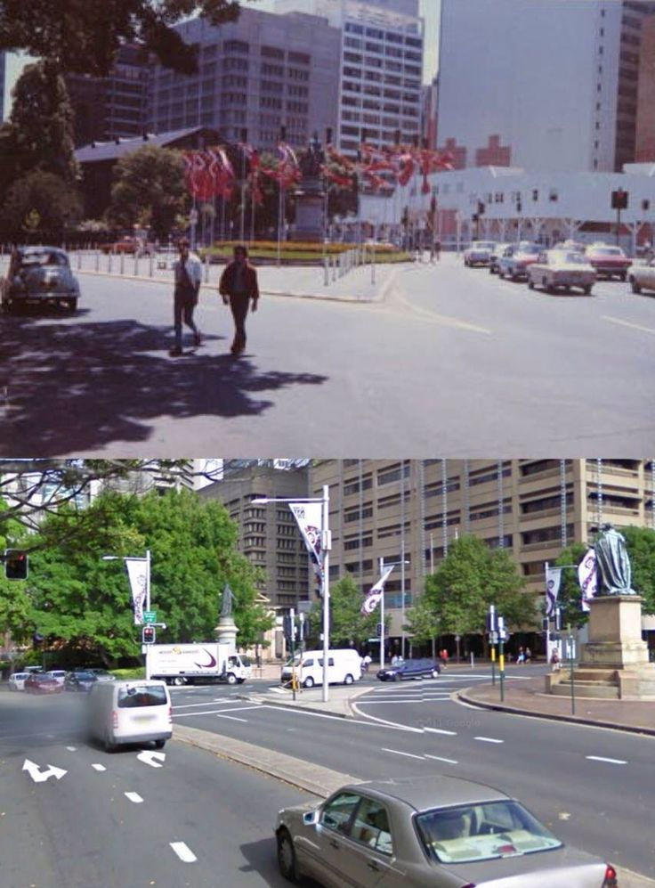 Queens Square 1971 and 2010.    [1971: Trove/City of Sydney Image Library - 2010: Google Street View/by Phil Harvey]