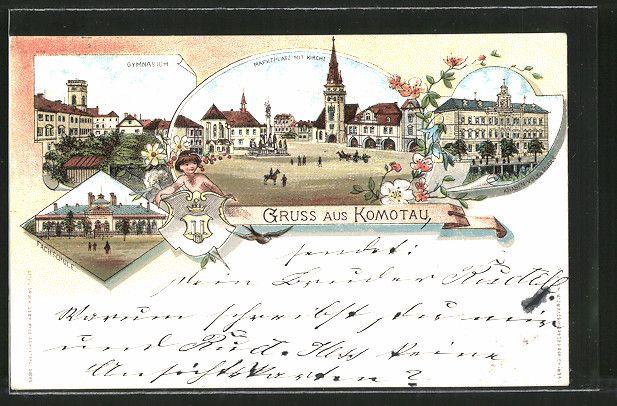 old postcard: Lithographie Komotau / Chomutov, Gymnasium, Marktplatz mit Kirche, Knaben u. Volksschule, Fachschule, Wappen