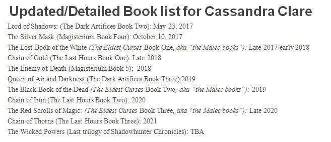 Now that Lord of Shadows is out here is the rest of the book list for everyone to set their countdowns too! #Shadowhunters @cassieclare