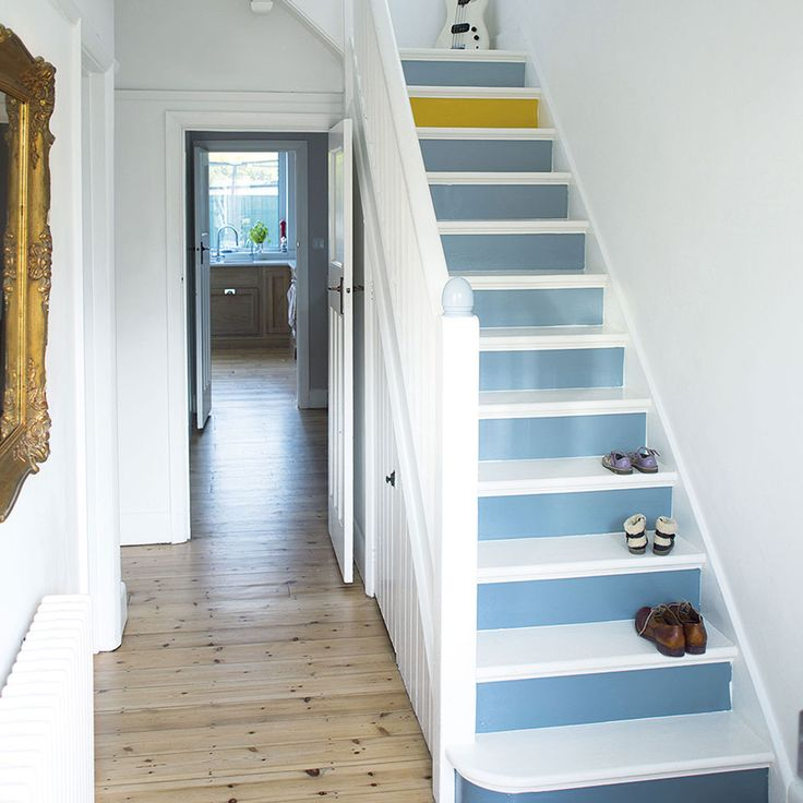 Image Result For White Hallway With Painted Stairs Yellow Lamp And One Yellow Step Looks Nice