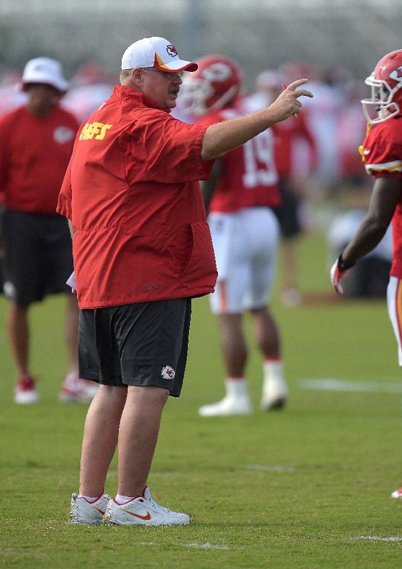 Kansas City Chiefs coach Andy Reid gestures during NFL football training camp Sunday morning, July 27, 2014, in St. Joseph. Mo