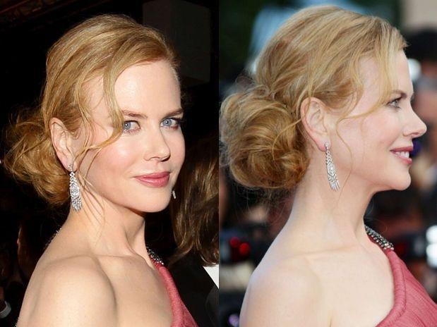 Nicole Kidman roubou a cena na pré-estreia de The Paperboy, no Festival de Cannes, com o coque volumoso e com textura e alguns fios da franja soltos e ondulados  Foto: Getty Images