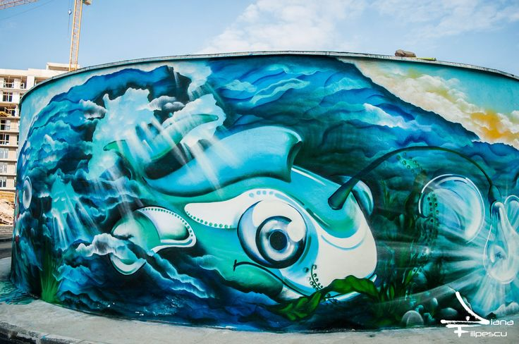 Project: CBC The biggest mural from Cluj-Napoca  This is a collab. V-Light Crew (Sys, Alex One, the Plant and Shpe)  Foto credit: Diana Filipescu